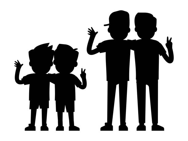 best friends silhouettes isolated on white background - baby boys and teenager boys black silhouettes - brother stock illustrations, clip art, cartoons, & icons