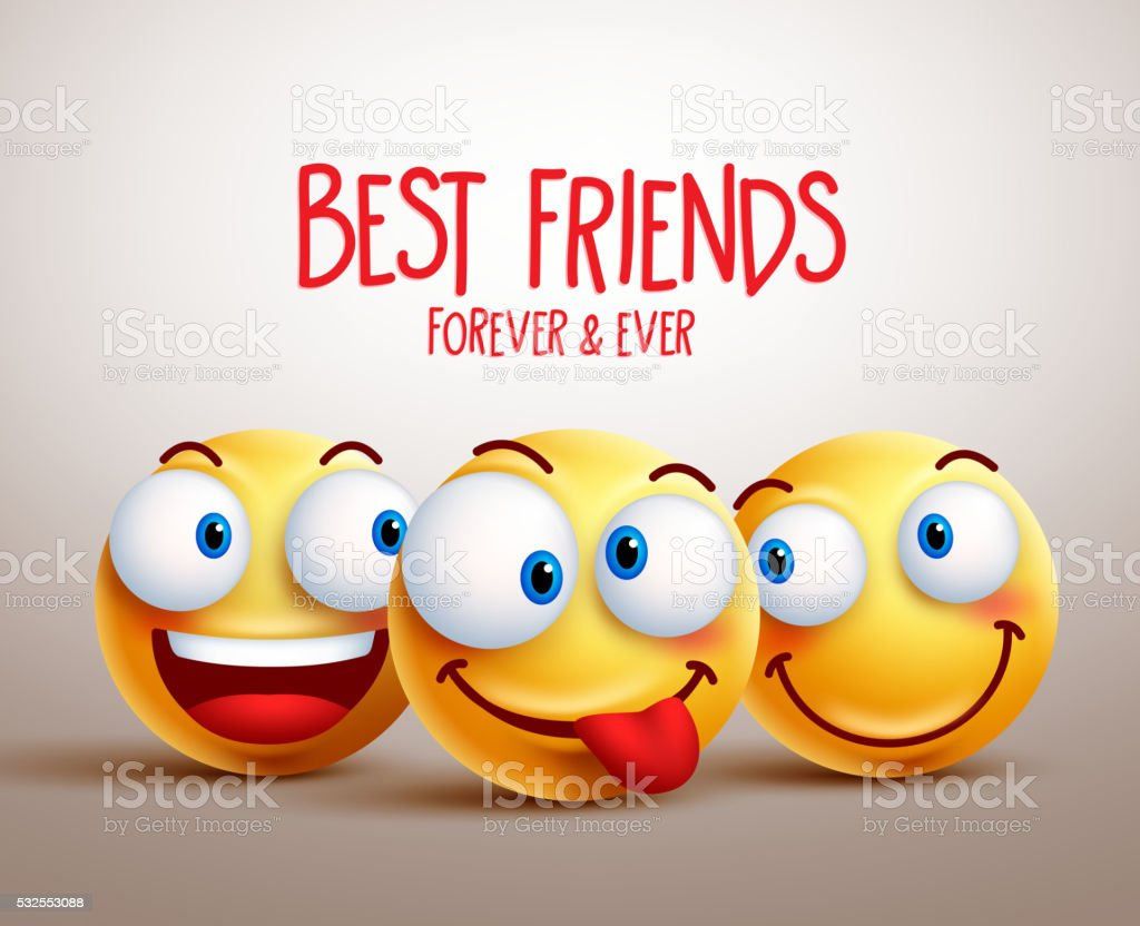 Best friends smiley face vector design concept with facial expressions vector art illustration
