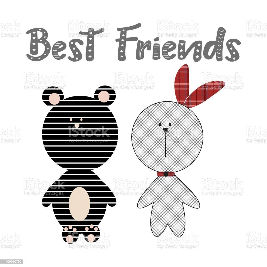 Beste Vrienden Tekst Cute Patroon Beer En Bunny