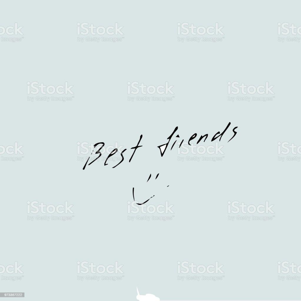 Beste Vrienden Tekst Vector Hand Getekende Offertesjabloon