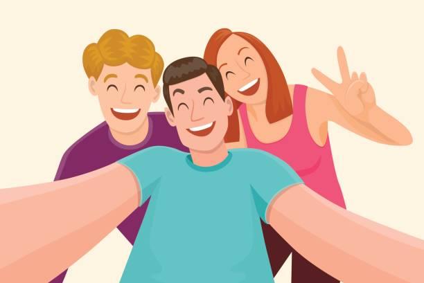 beste freunde - selfie stock-grafiken, -clipart, -cartoons und -symbole