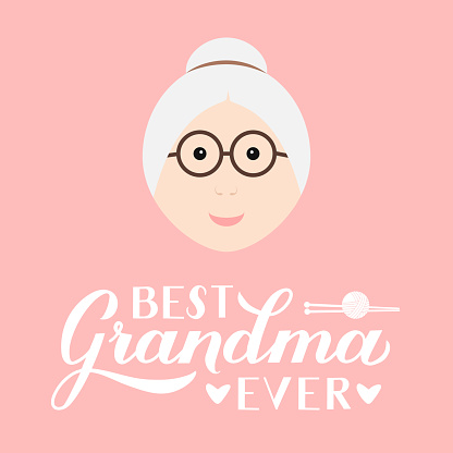 Best Grandma Ever calligraphy hand lettering on pink background. Grandparents Day greeting card for grandmother. Easy to edit vector template for banner, poster, postcard, t-shirt, mug, pillow, etc.