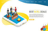 Best hotel deals landing page website template. Vector isometric illustration of smartphone with hotel staff providing customer services. Hotel search, booking online, apartment reservation concept.