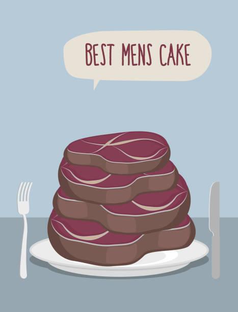 最高の男性用ケーキ。ケーキのステーキをお召し上がりください。個の肉 - フランス料理点のイラスト素材/クリップアート素材/マンガ素材/アイコン素材