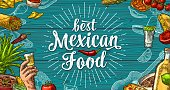 Best mexican food handwriting lettering and vintage engraving