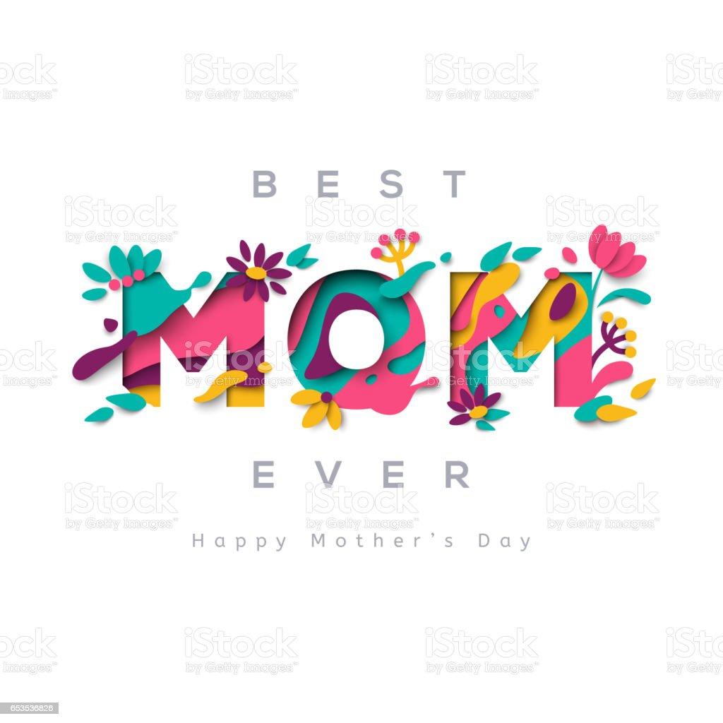 Best mom ever greeting card vector art illustration
