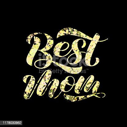 istock Best mom lettering.  Vector illustration for card or poster 1178030952
