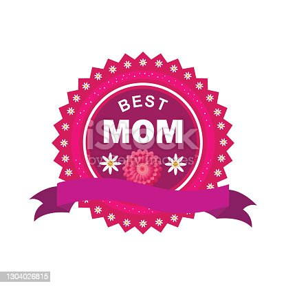 istock Best Mom Sticker, Tag or Label design with blank ribbon for Mother's Day celebration 1304026815