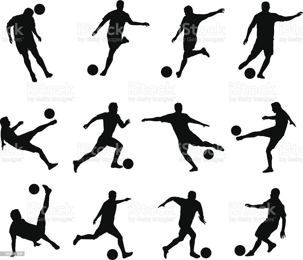 best movements of soccer player vector art illustration