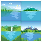 A set of 4 modern beautiful nature illustration. Each scene is grouped individually.