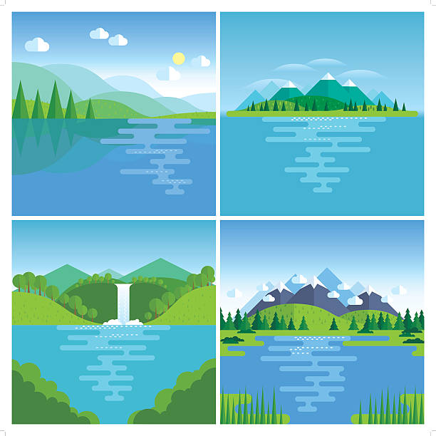 best nature location - панорамный stock illustrations
