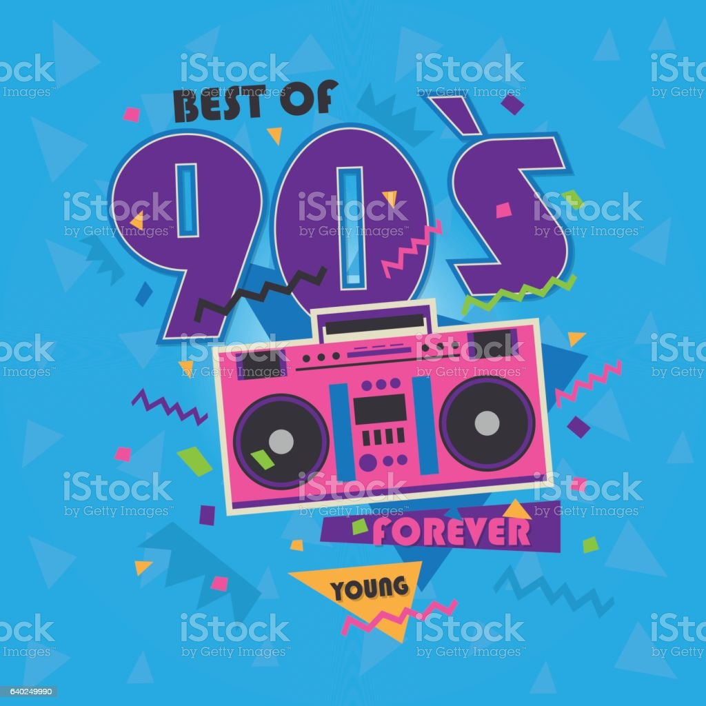 Best of 90s illistration with realistic tape recorder on blue vector art illustration