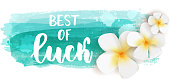 Best of luck - handwritten modern calligraphy lettering text. Plumeria flowers on teal colored watercolor imitation brushed banner - summer illustration