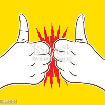 two thumb up icon cheers or hit, good luck wish each other design