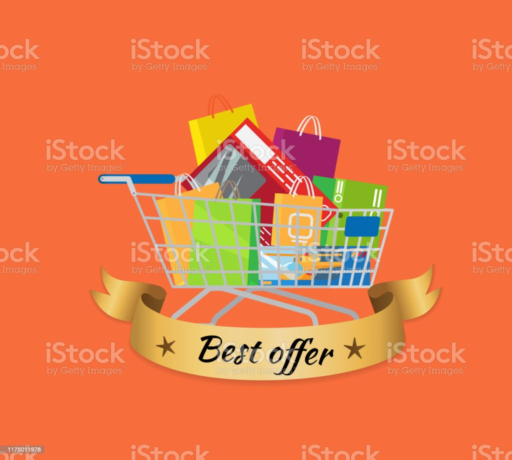 Best Offer Promo Banner Cart Full Of Shopping Bags Stock Illustration Download Image Now Istock