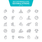 Perfomance, Success, Achievement,Running, Sport, Sports Race, Editable Line Icon Set