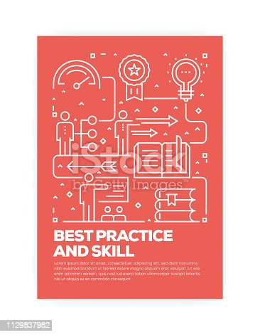 istock Best Practice and Skill Concept Line Style Cover Design for Annual Report, Flyer, Brochure. 1129837982