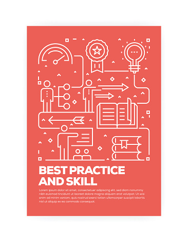 Best Practice and Skill Concept Line Style Cover Design for Annual Report, Flyer, Brochure.