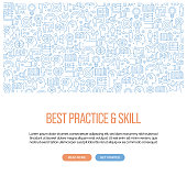 Best Practice and Skill Related Banner Design with Pattern. Modern Line Style Icons Vector Illustration