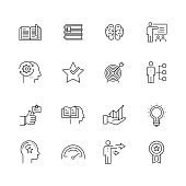 Best Practice and Skill - Set of Thin Line Vector Icons