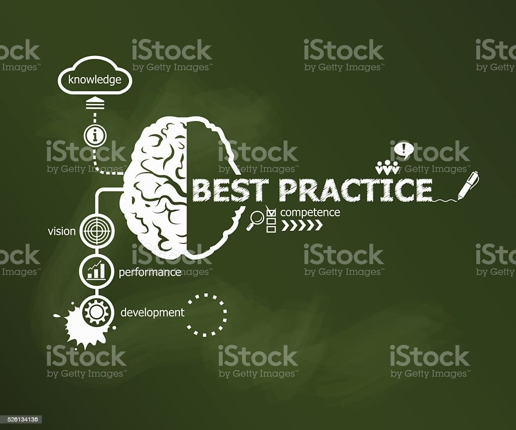 Best practice concept and brain. vector art illustration