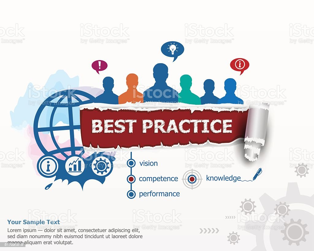 Best practice concept and group of people. vector art illustration
