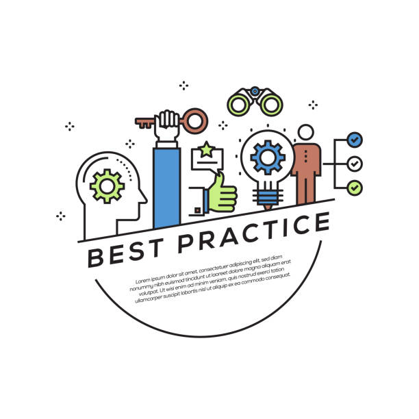 Best Practice Concept Flat Line Icons vector art illustration