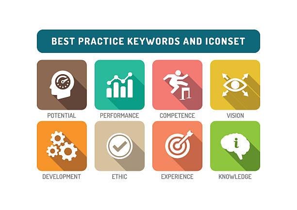 Best Practice Flat Icon Set vector art illustration