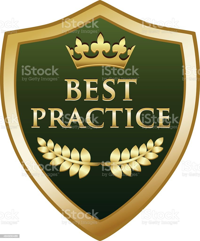 Best Practice Gold Shield vector art illustration