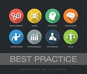 Best Practice chart with keywords and icons. Flat design with long shadows