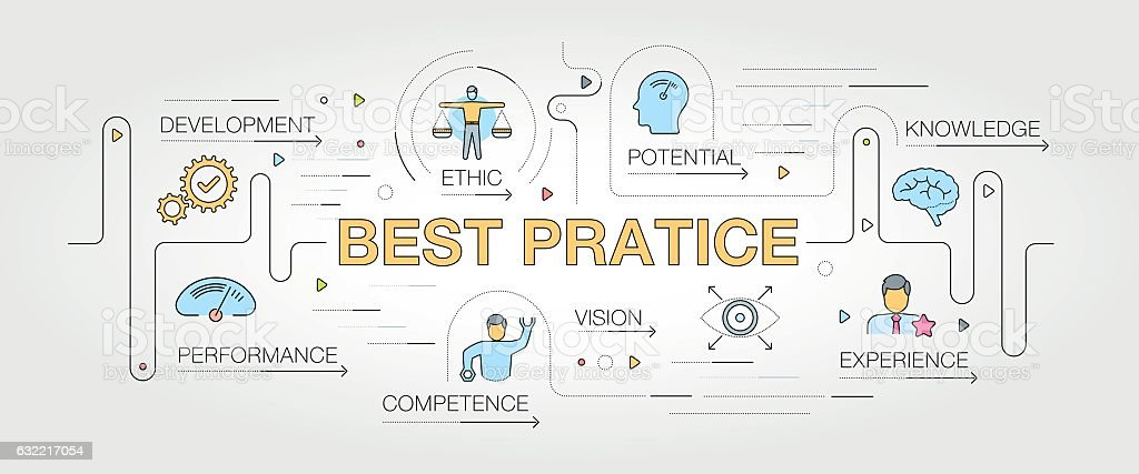 Best Practice keywords with icons vector art illustration
