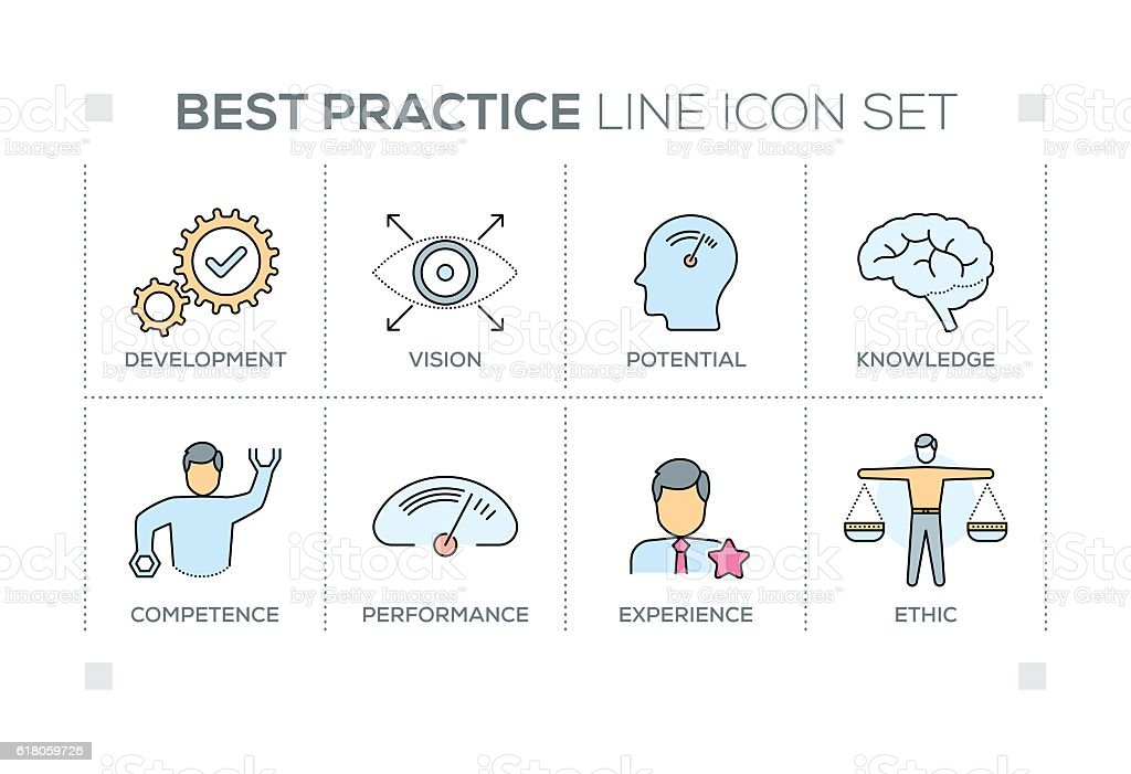 Best Practice keywords with line icons vector art illustration