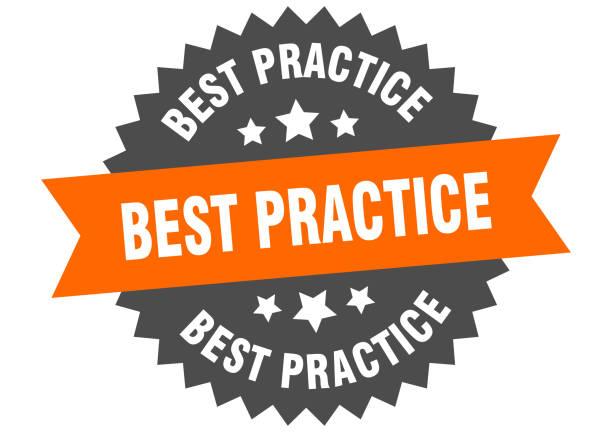 best practice sign. best practice orange-black circular band label – artystyczna grafika wektorowa