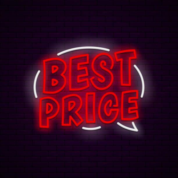 Best price neon banner vector art illustration