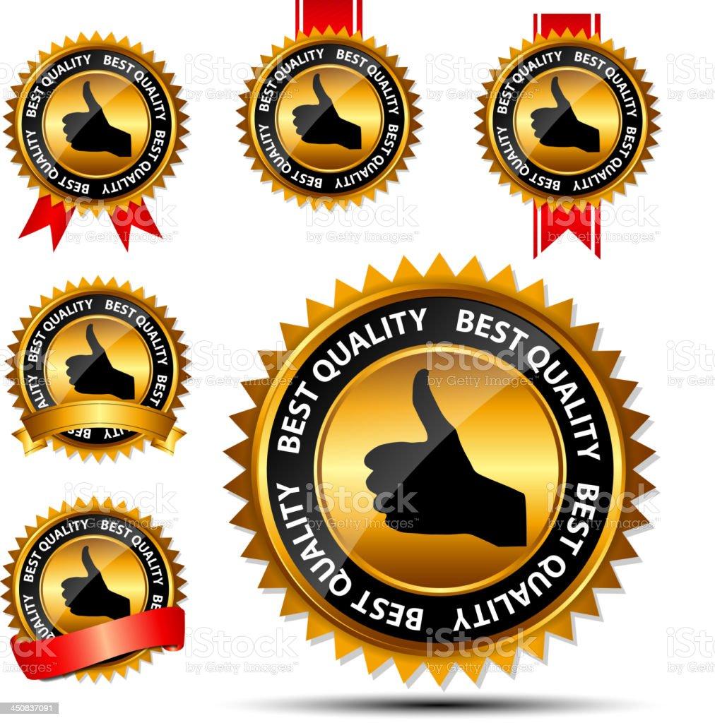 Best quality golden labels set. vector illustration royalty-free stock vector art