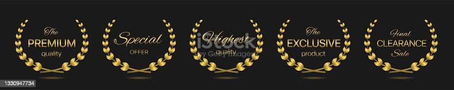 istock Best quality Golden laurel wreath label set 1330947734