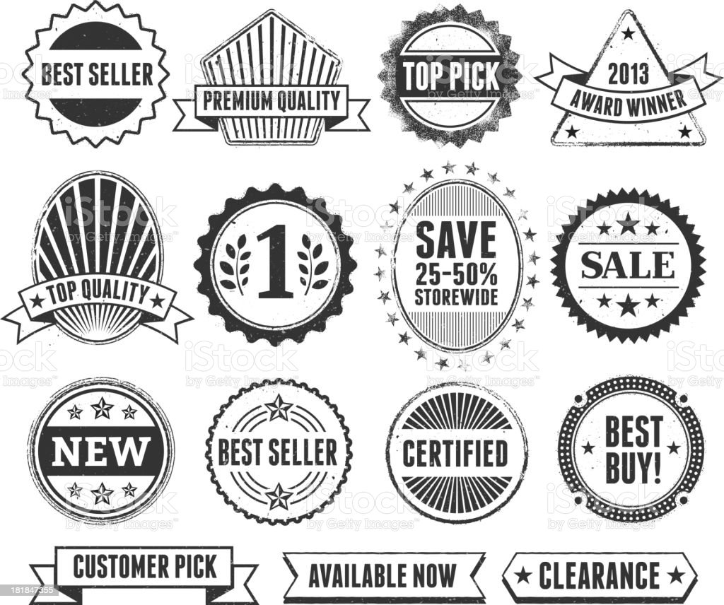 Best Sale Shopping Black & White Grunge Badge Set vector art illustration
