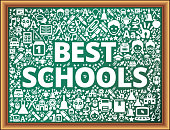 Best Schools School and Education Vector Icons on Chalkboard