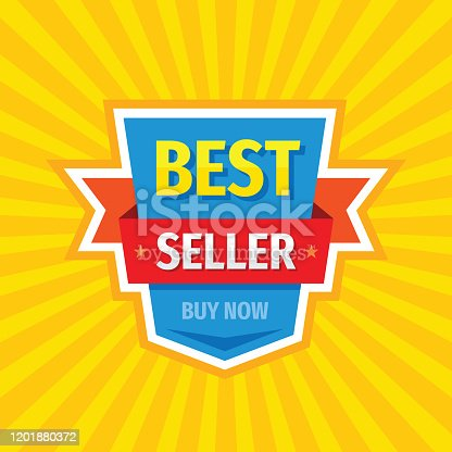 Best seller banner design. Advertising promotion poster. Buy now. Low price. Sale discount tag vector badge layout.
