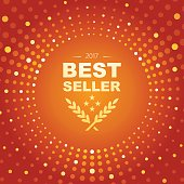 Vector of best seller emblem background with orange color circle shape and glowing lights abstract theme. This illustration is an EPS 10 file and contains transparency effects.