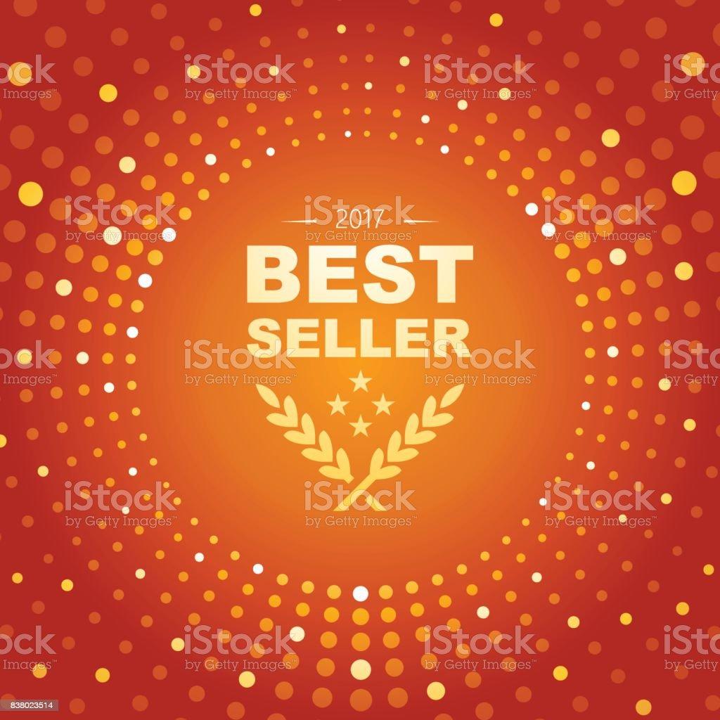 Meilleur emblème de vendeur avec forme de cercle et rougeoyante lights thème abstrait - Illustration vectorielle
