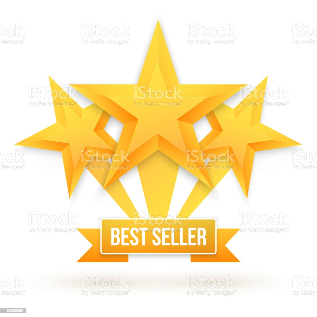 Best Seller Gold Star Vector Background. Top Rating template vector art illustration