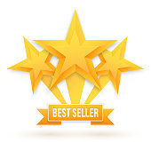 Best Seller Gold Star Vector Background. Top Rating template
