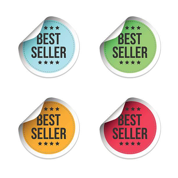 ilustraciones, imágenes clip art, dibujos animados e iconos de stock de best seller labels - corredor de bolsa