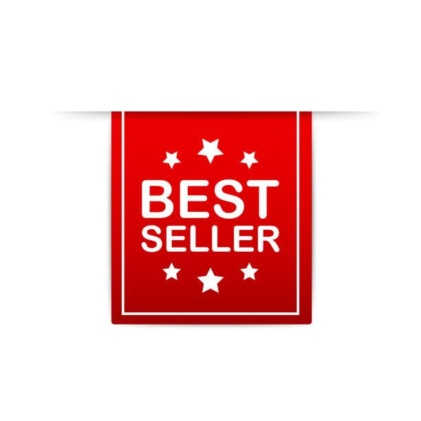 bestseller red label. red web ribbon. vector illustration. - broker stock-grafiken, -clipart, -cartoons und -symbole