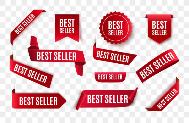 Best seller red ribbon isolated. Best seller red ribbon isolated. Vector 3d labels. postage stamp stock illustrations