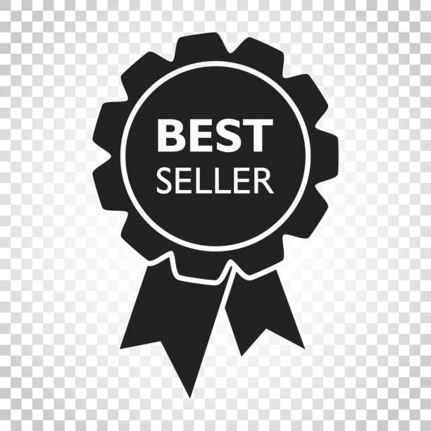 最高の売り手のリボンのアイコン。孤立した背景にフラット スタイルでメダル ベクトル イラスト。単純なビジネス概念のピクトグラム。 - 株式仲買人点のイラスト素材/クリップアート素材/マンガ素材/アイコン素材