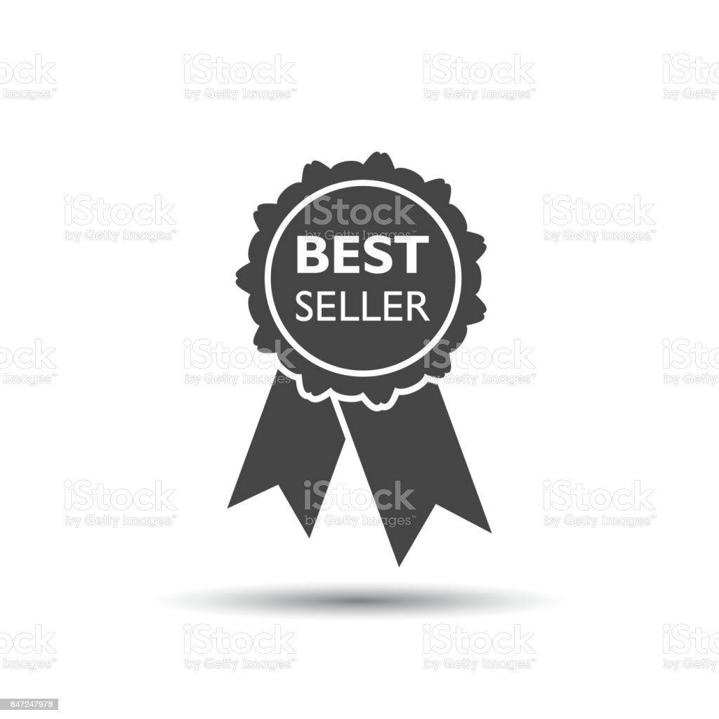 Best seller ribbon icon. Medal vector illustration in flat style on white background.