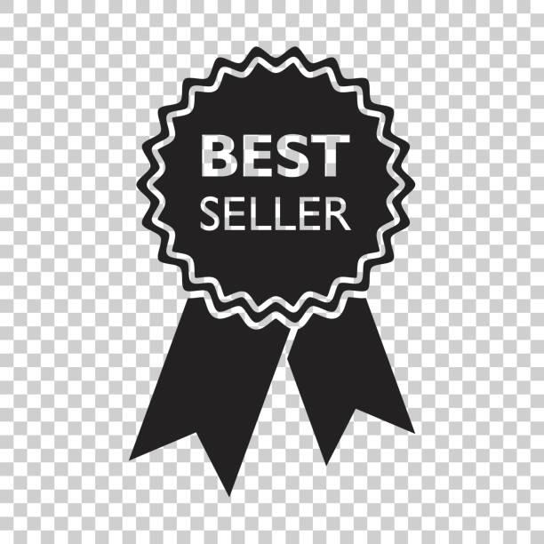 最高の売り手のリボンのアイコン。孤立した背景にフラット スタイルでメダル ベクトル イラスト。 - 株式仲買人点のイラスト素材/クリップアート素材/マンガ素材/アイコン素材