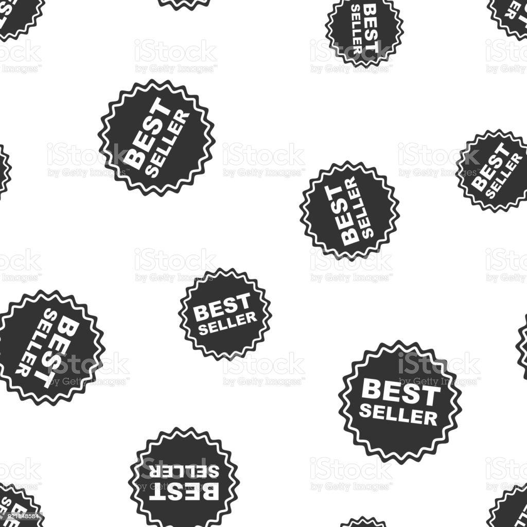 Best seller ribbon seamless pattern background. Business flat vector illustration. Medal symbol pattern.